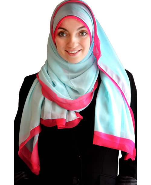 Bordered Solid Chiffon Solid Hijab