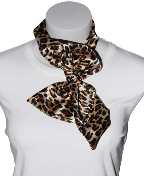 Silk-feel Magic Neck Scarf Leopard Print
